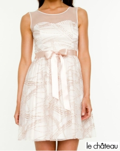 Le Chateau Ivory&Gold Sheer Tulle Dress With Bow Ribbon